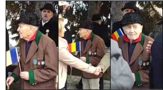 (Video) Veteran de război, în vârstă de 101 de ani, ignorat de Ziua Naţională. Cu toiagul într-o mână și steagul tricolor în cealaltă, veteranul, a fost practic invizibil pentru participanții la eveniment 1