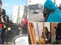 (Foto) Isteria coronavirus. Tineri mascaţi ca în filmele cu atacuri chimice pe străzile din București 16