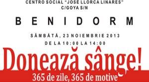 """Benidorm: """"Să fim solidari"""", o campanie de încurajare a românilor la a dona sânge"""