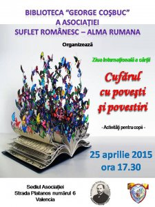 Afiş Ziua Cărții organizată de Asociaţia Suflet românesc - Alma Rumana