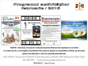 Programul activităţilor Asociaţiei Gente pe luna februarie 2016