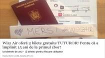 """""""Wizz Air oferă 2 bilete gratuite TUTUROR!"""", o ţeapă răspândită cu repeziciune pe Facebook"""