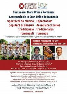Afis Spectacol in Salamanca cu prilejul Centenarului Marii Uniri