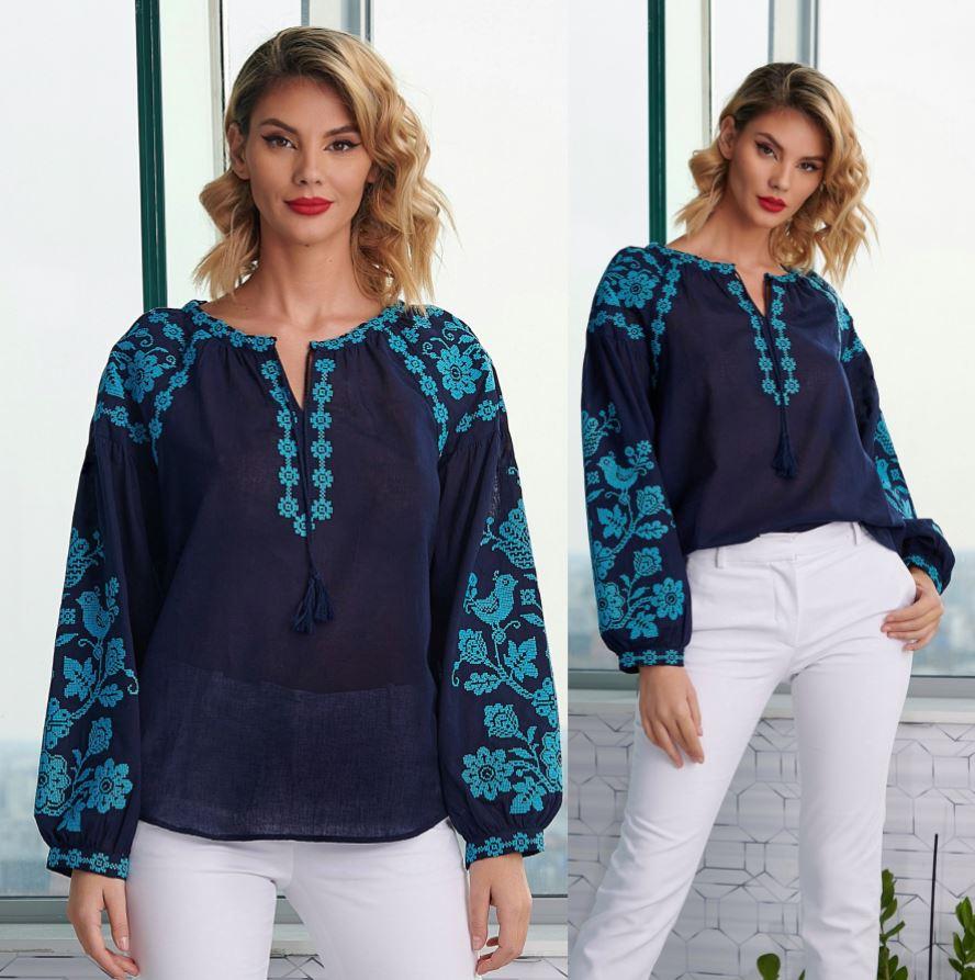 bluze tip ie elegante bleumarin turcoaz