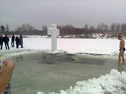 Voskresennia Holida ritual in Ukraine -- ice bathing