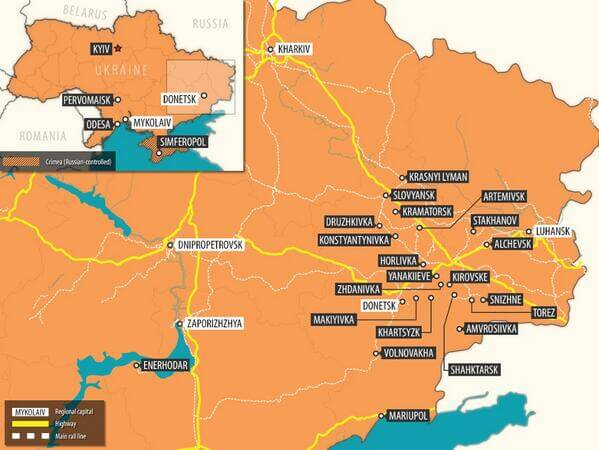 Map of townscities in east ukraine controlled by pro russia map of townscities in east ukraine controlled by pro russia forces or in which they have been seen publicscrutiny Gallery