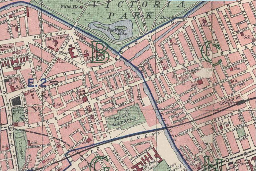 Old maps of Bow and the East End   Roman Road London 1940s map of the merging of Green Street and Roman Road