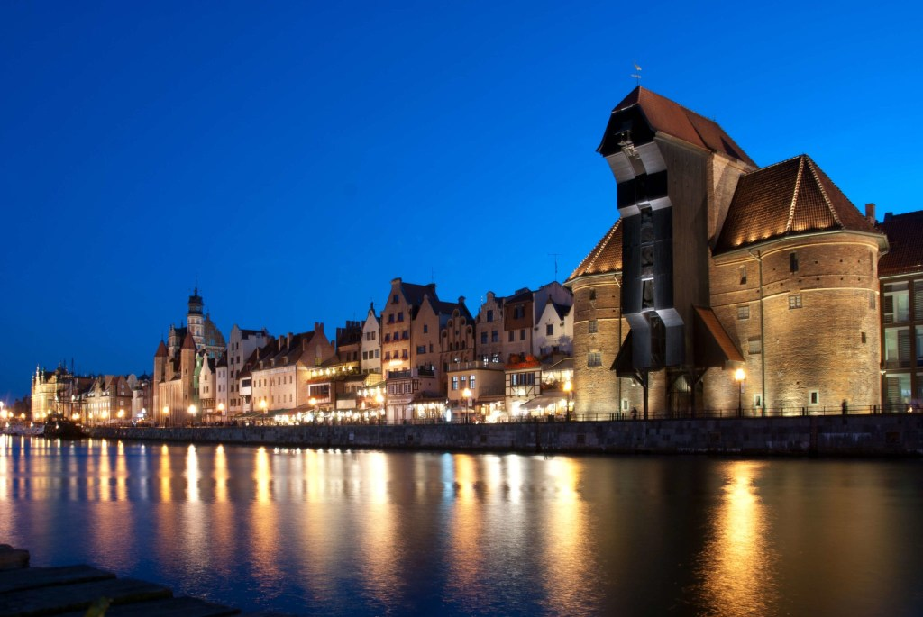 Night in the city. 1 day in Gdansk