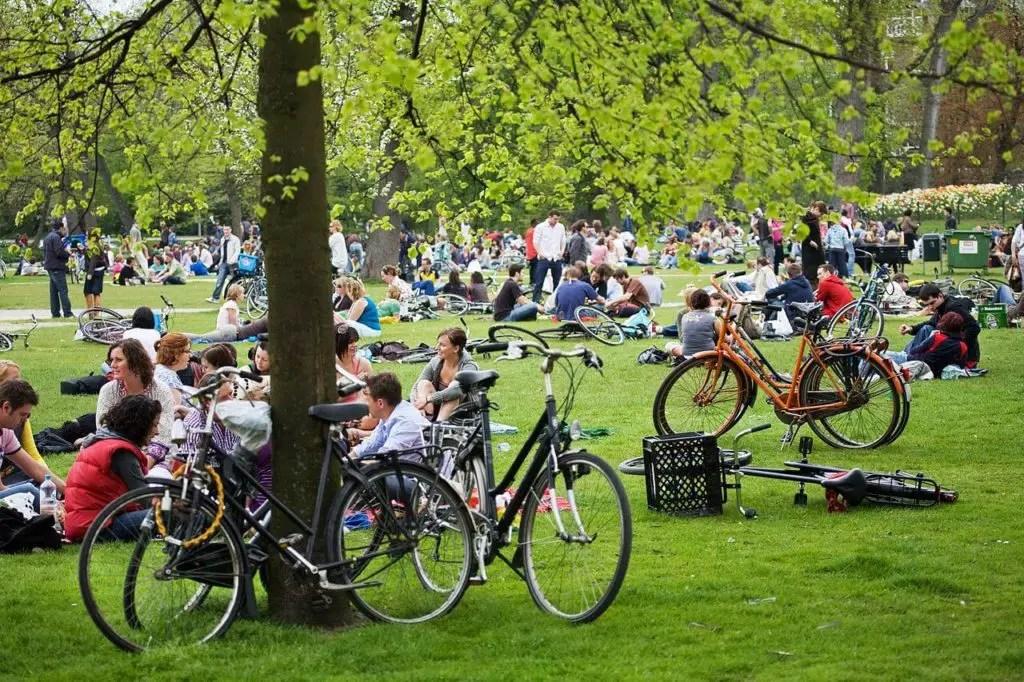 Велосипеды и пикник в парке Амстердама