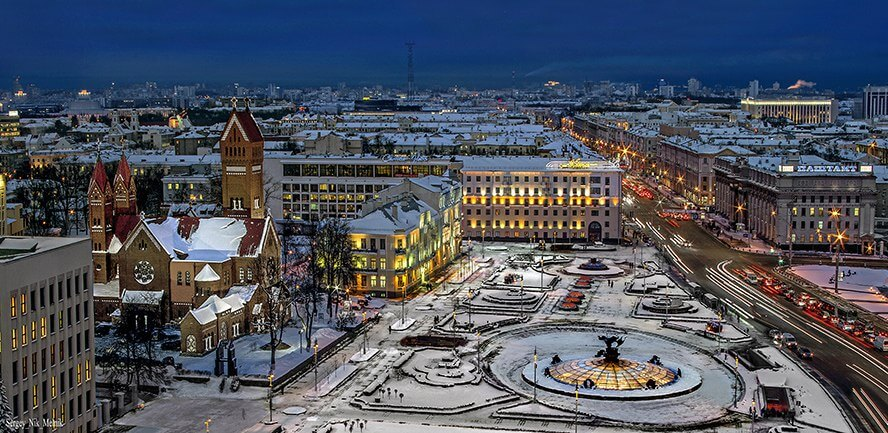 Lenina square in Minsk in Winter