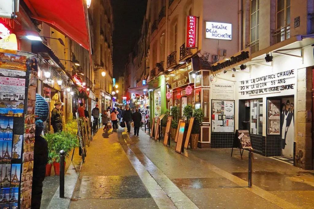 Latin Quarter in Paris at night