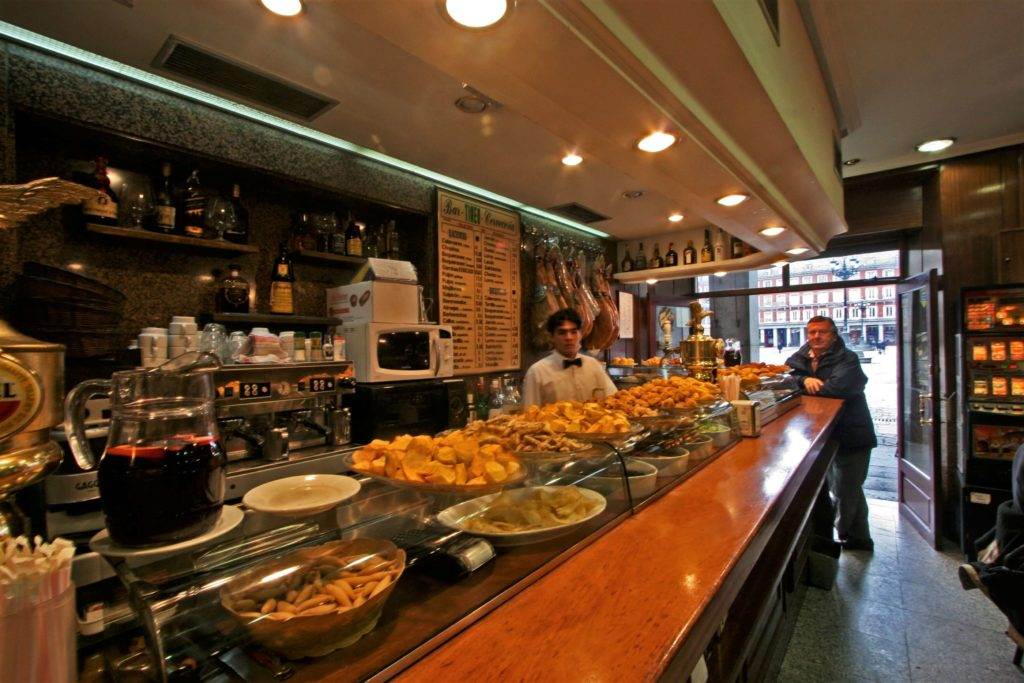 Tapas bar on Plaza Mayor, 3 days in Madrid itinerary and prices