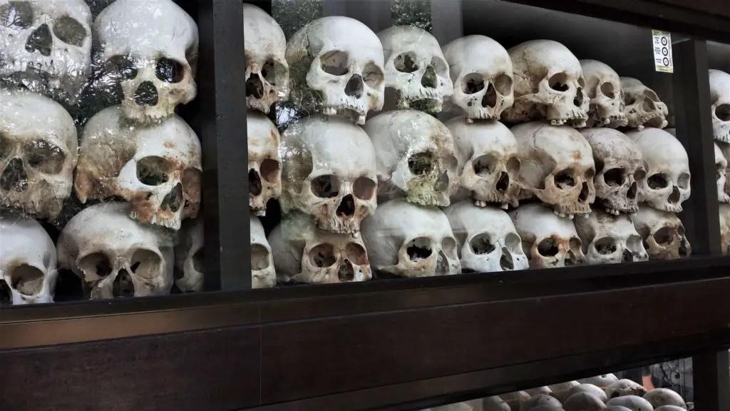 Sculls in the Killing fields in Phnom Pehn, Cambodia