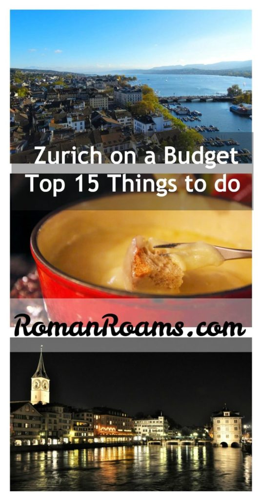 Best things to do in Zurich on a budget, cheap and free, collage with three images