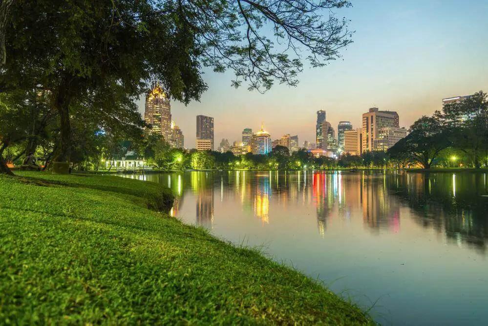 Lumpini park and view on the city, fun Bangkok activities