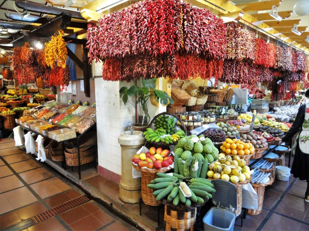 Fruits and spices in the market in Madeira
