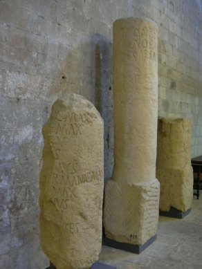 Girona museum - altar and mile stones