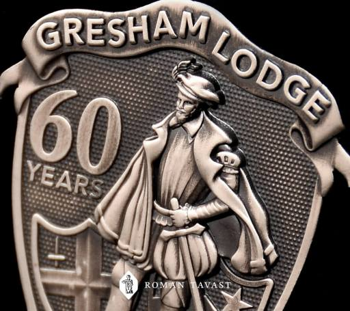 Gresham Lodges very high-quality lapel badge close-up