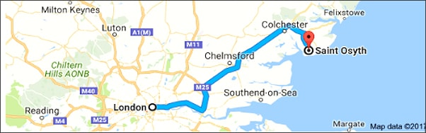 from London to St. Osyth