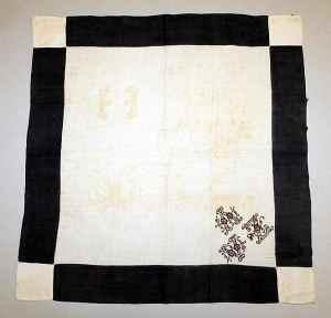 Mourning handkerchief with black monogram