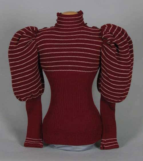 Burgundy leg-of-mutton sleeve sweater