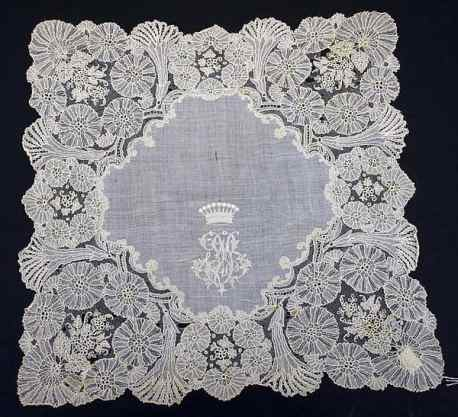 Handkerchief with ornate monogram