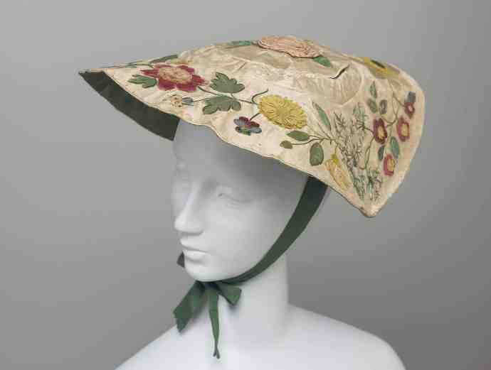 18th c bergere hat with embroidered flowers and ribbonwork