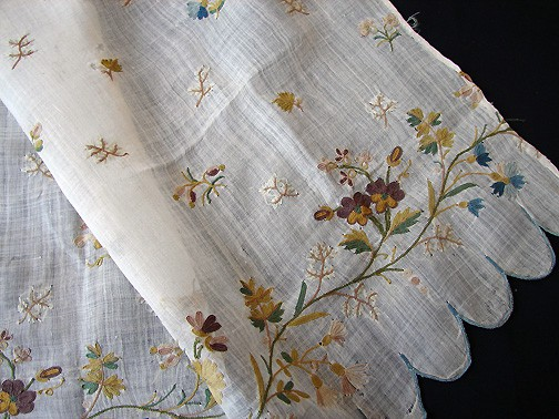 18th c embroidered muslin panel with pansies and other flowers