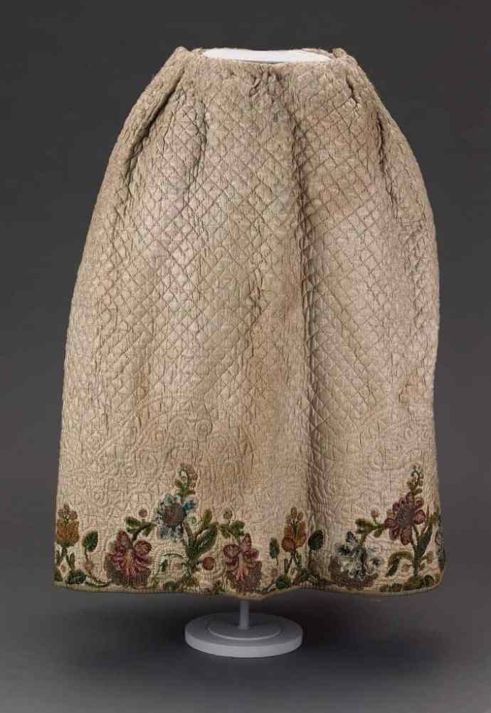 Silk chenille embroidery on petticoat
