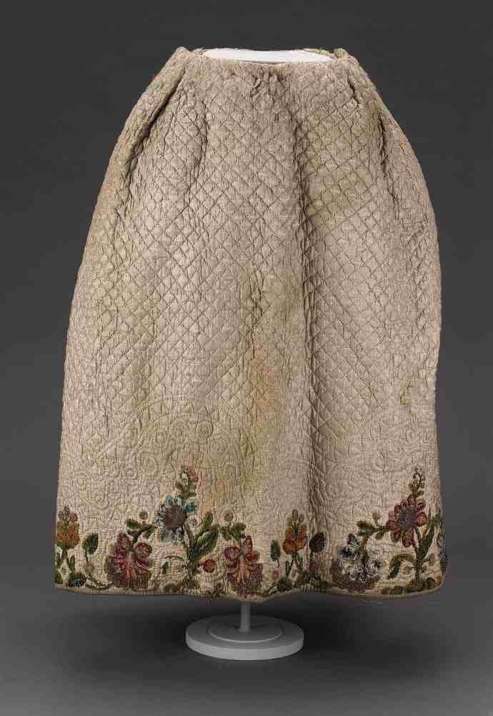 Silk chenille embroidery on petticoat