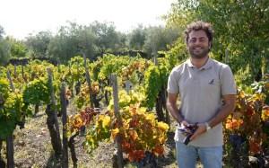 Alberto Graci proudly shows his vineyard in Passopisciato.