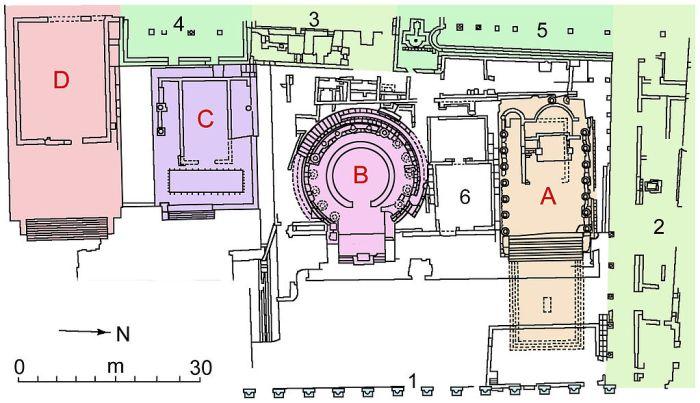 """Pianta dell'area sacra """"Largo torre argentina PIANTA"""" di I, Sailko. Con licenza CC BY 2.5 tramite Wikimedia Commons - https://commons.wikimedia.org/wiki/File:Largo_torre_argentina_PIANTA.jpg#/media/File:Largo_torre_argentina_PIANTA.jpg"""