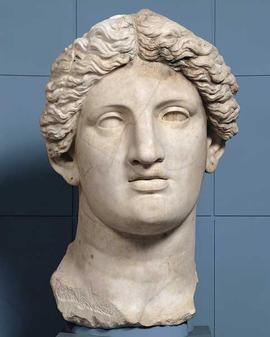 Statua colossale femminile: testa. Rinvenuta nel 1925 http://www.centralemontemartini.org/collezioni/percorsi_per_sale/sala_macchine/area_sacra_di_largo_argentina/statua_colossale_di_divinita_femminile_testa