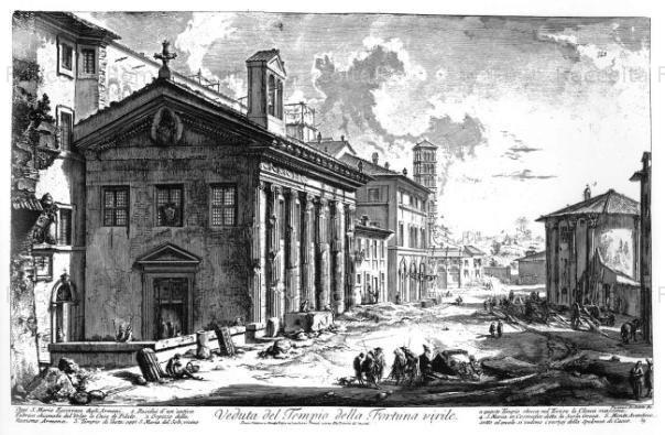 L'aspetto della chiesa di Santa Maria Egiziaca in un'incisione di Piranesi. Sullo sfondo è ben visibile il tempio rotondo di Ercole Vincitore