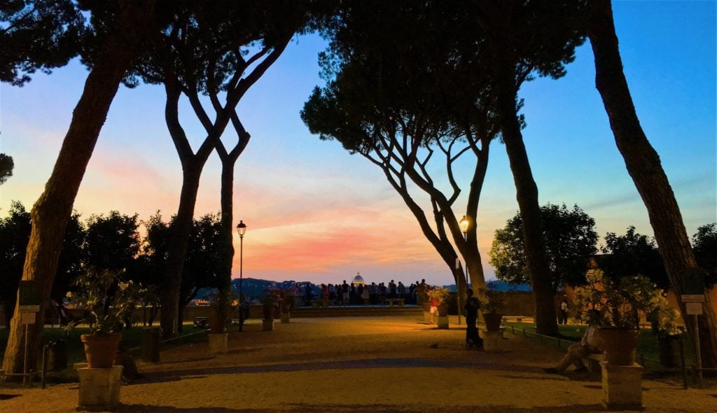 Giardino degli Aranci at sunset.
