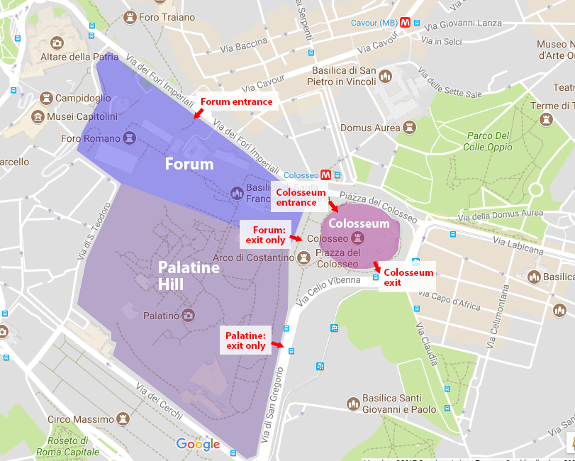 Map of the entrances and exits to the Colosseum, Forum, and Palatine hill in Rome from Rome Vacation Tips.
