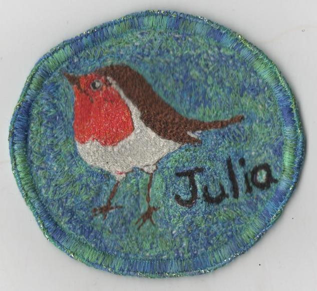 """We all made """"birdy"""" name badges"""