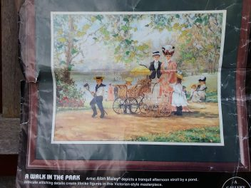 A Walk in the Park - Crewel kit. Fabric and instructions. Part stitched. £1.00