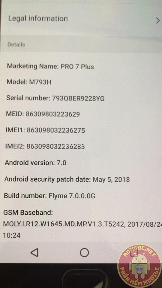 File Tiếng Việt Meizu PRO 7 Plus (M1793) ver 7.0.0.0G