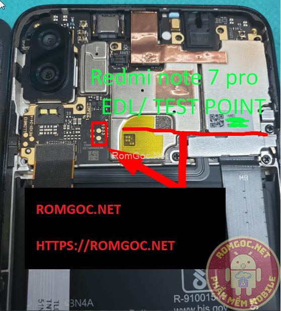 Redmi Note 7 (Lavender) Test pinout EDL 9008 (onc) Checkpoint Pinout
