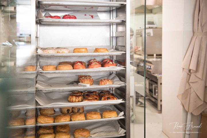 Scoop 'n Dough fresh doughnuts rack