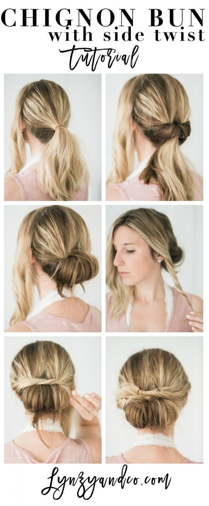 The Best Simple Hair Tutorial Chignon Bun With Twist Lynzy Co Pictures