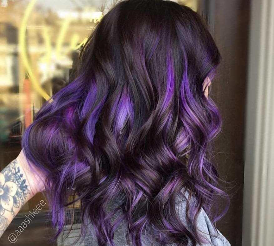 The Best Purple Highlights On Dark Hair Is The Latest Instagram Pictures