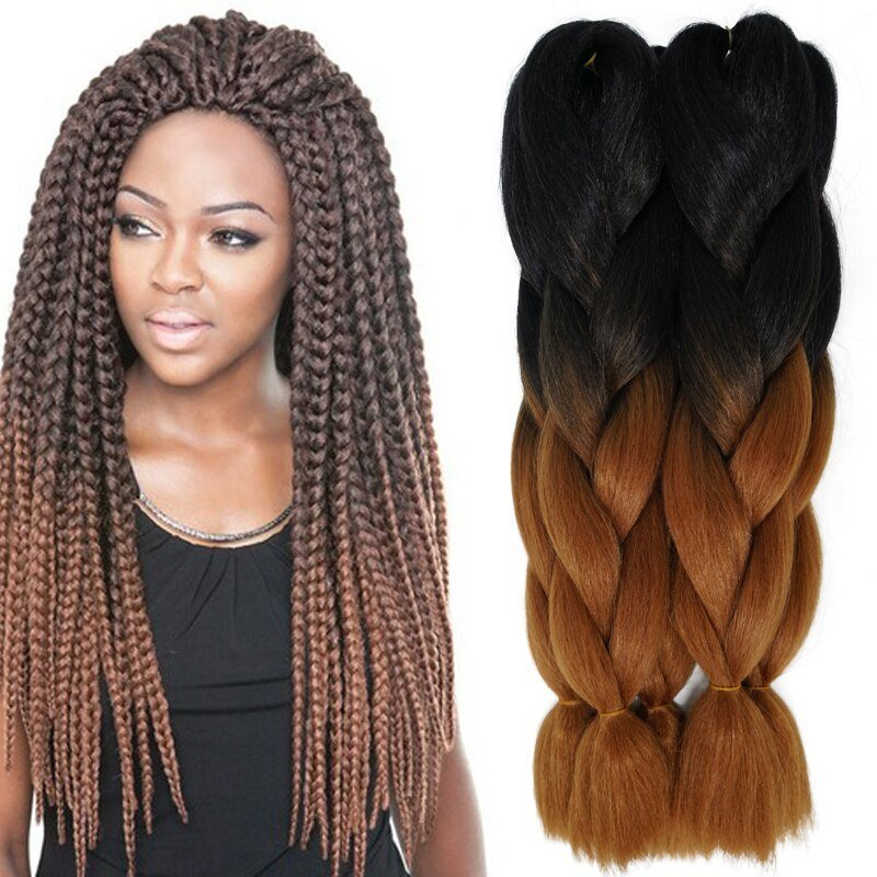 The Best 24Inch 100G Synthetic Braiding Hair Two Tone Ombre Pictures