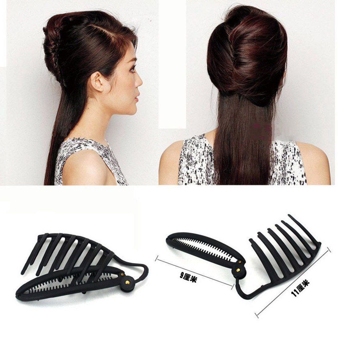 The Best Women Formal Hair Styling Updo Bun Comb Clip For Three Pictures