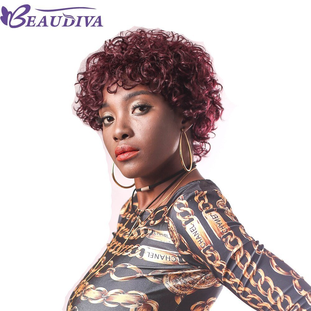 The Best Beaudiva Pre Colored Human Hair Wigs 950 Color Brazilian Curly Short Human Hair Wigs In Human Pictures