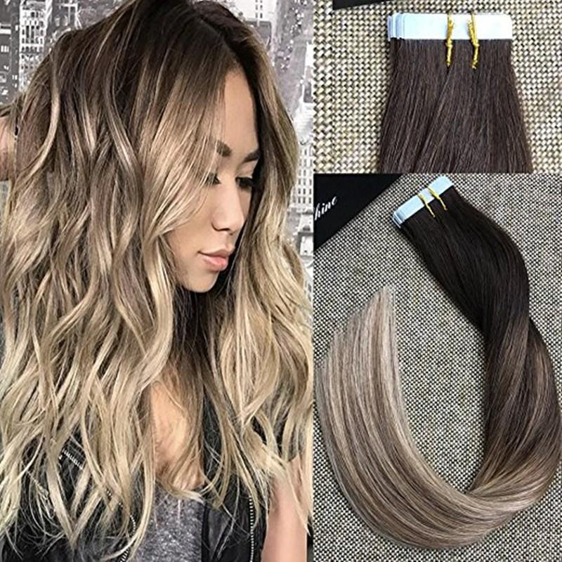 The Best Full Shine Brazilian Human Hair Extensions Glue In Tape Pictures