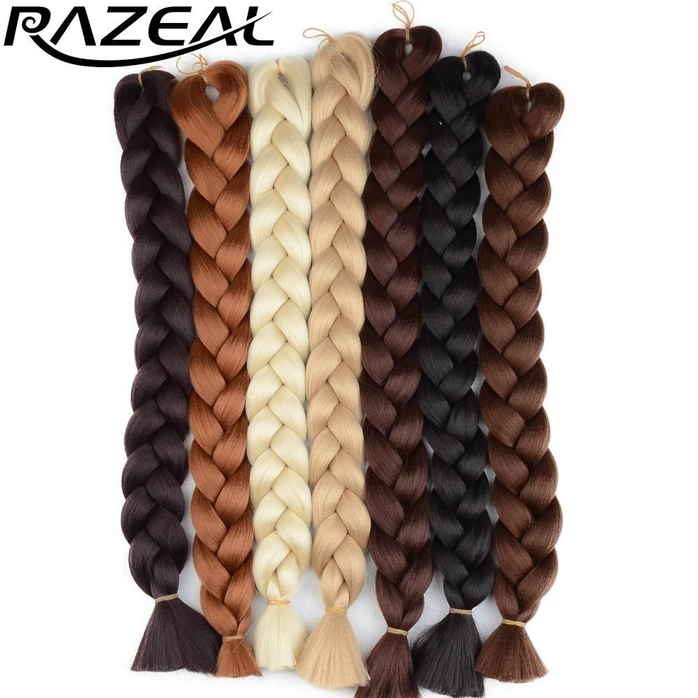 The Best Razeal 48Inch 105G Pack Jumbo Kanekalon Braiding Hair Extensions Synthetic Braids Hair Colors Pictures