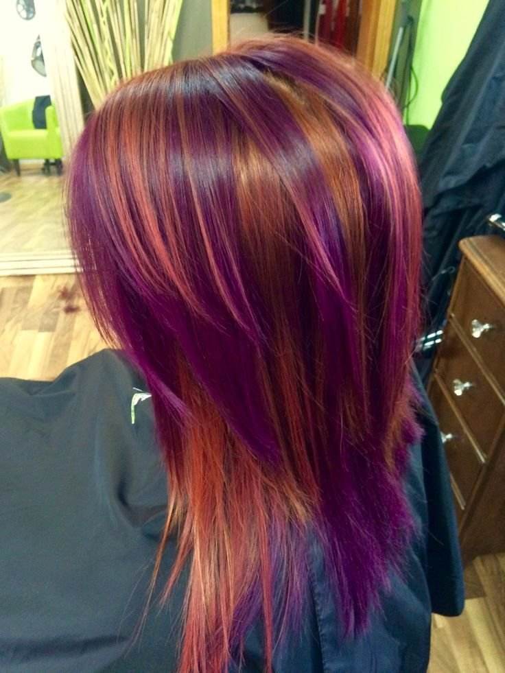 The Best Pinwheel Color Red Copper And Purple Colorful Hairstyles In 2019 Hair Color Techniques Pictures