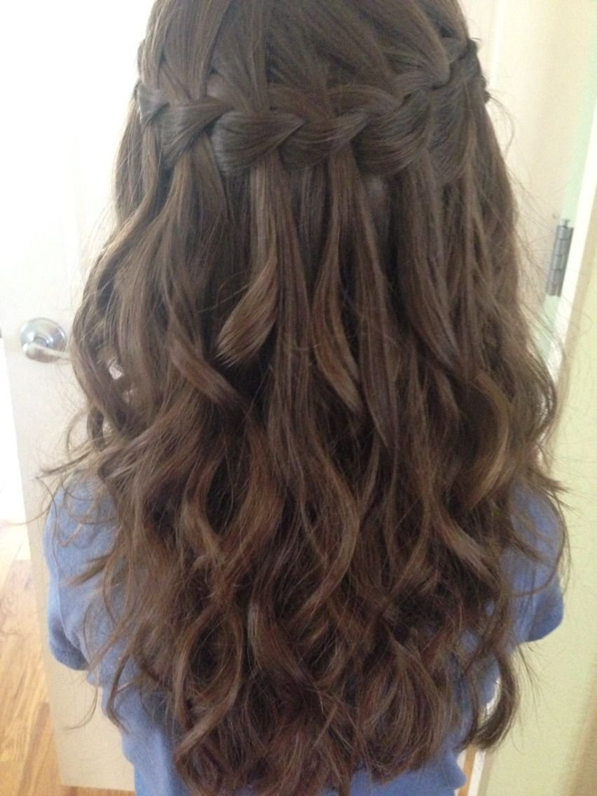 The Best Waterfall Braid On My Niece With Her Next Day Curls Hair Pictures
